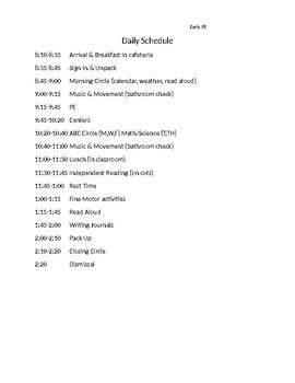 Pre-K Sample Schedule