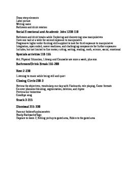 Pre-K Schedule Sample