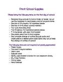 Pre-K School Supplies List