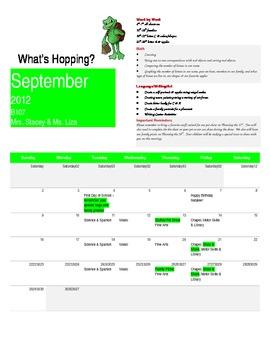 Pre K September Calendar and Newsletter Sample