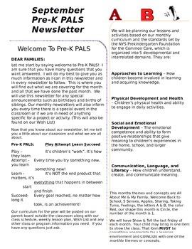 Pre-K September Newsletter
