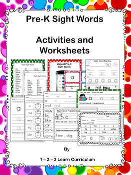 Pre-Primer Sight Word Activities and Worksheets