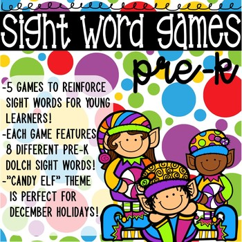 Pre-K Sight Word Game with Elf Theme
