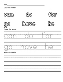 Pre-K Sight Words: Can, Do, For, Go, Have, He