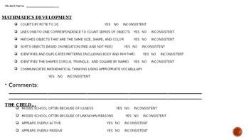 Pre K Social and Academic Checklist