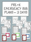 Pre-K or Kindergarten Emergency Sub Plans - 3 days of Lessons! (No Prep)