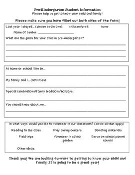 Pre-K Student Information Form