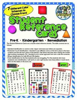 Pre-K Student Reference Cards