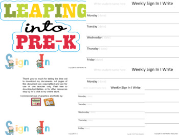 Pre K Student Sign In Sheets- Progress Monitoring