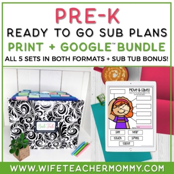 Pre-K Sub Plans GROWING BUNDLE (Pre-School Emergency Substitute Plans)