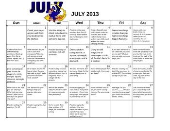 Pre-K Summer daily activity calendar 2013