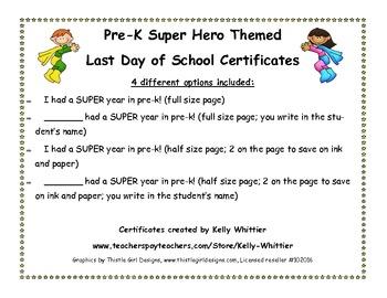 Pre-K - Super End of School Year Super Hero Certificates