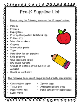 Pre-K Supplies List