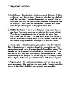Pre-K Testing and Progress Monitering Forms, charts, graphs
