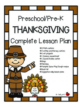 Pre-K Thanksgiving Complete 7-day Lesson Plan