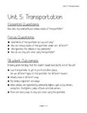 Pre-K Unit 5 Transportation Lesson Plans