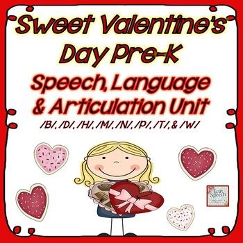 Sweet Valentine's Day Pre-K Speech, Language and Articulation Mega Unit