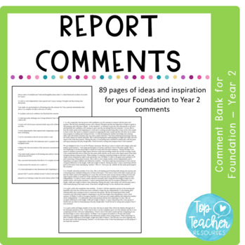 Pre K - Year 2 report comment bank