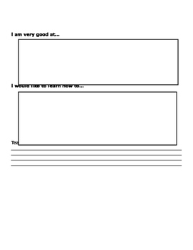 Pre K Year End of School Year Reflection Sheet