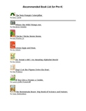 Pre-K and K Book List