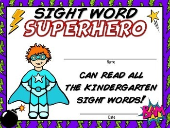 Pre-K and Kindergarden Sight Words - Super Certificates (EDITABLE) - USA