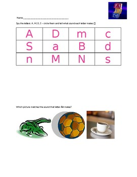 PHONICS Pre-K and Kindergarten A, M, D, S  letter sound worksheets