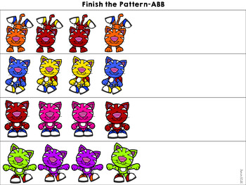 Pre-K and Kindergarten Colorful Cat sneakers Color Activities