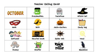 Pre-K and Kindergarten Halloween Picture Bingo