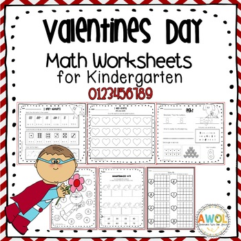 Math Activities and Worksheets for Valentine\'s Day Pre-K - First Grade