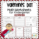 Math Activities and Worksheets for Valentine's Day Pre-K -