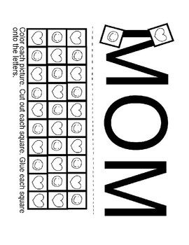 Pre-K and Kindergarten Mom Worksheet