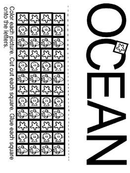 Pre-K and Kindergarten Ocean Worksheet
