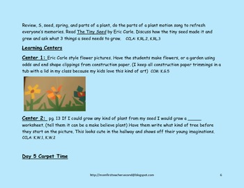 Pre-K and Kindergarten Plant Growth Common Core Thematic Unit