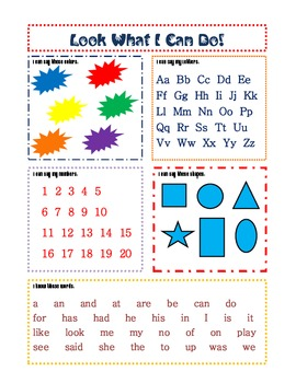 Pre-K and Kindergarten Practice Page and Assessment Sheets