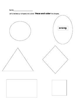 Pre-K and Kindergarten Shape and Color Worksheet