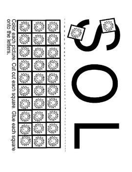 Pre-K and Kindergarten Sun (SOL) Spanish Worksheet