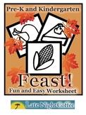 Pre-K and Kindergarten Thanksgiving Feast Worksheet