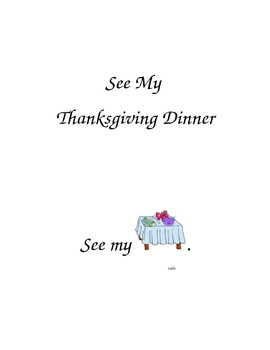 """Pre-K and Kindergarten sight word book.  """"See My Thanksgiving Dinner"""" booklet"""