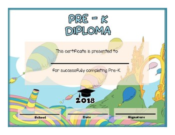 pre k and pre kindergarten graduation diploma dr seuss oh the