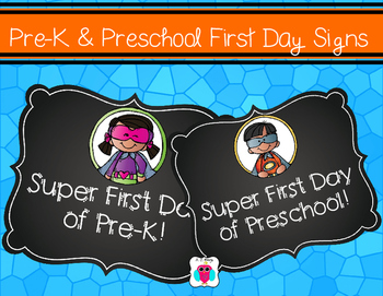 Pre-K and Preschool Super First Day Signs