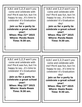 Pre-K graduation invitations