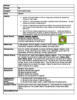 Pre K lesson plans and worksheets for Autumn Apples and Pumpkins