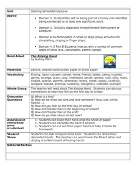 Pre K lesson plans and worksheets for School, Family, Patterns, Leaves, Friends