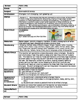 Pre K lesson plans for Changes