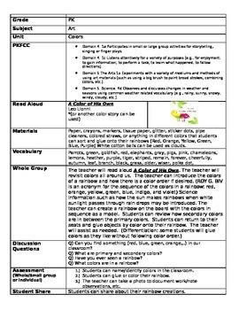 Pre K lesson plans for Colors