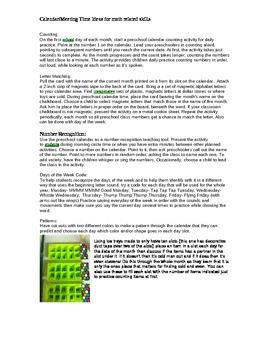 Pre-K math meeting time ideas