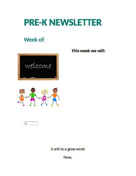 Pre-K Newsletter Format