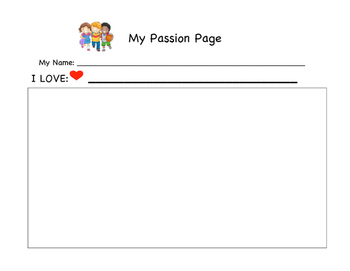 Pre-K or Kinder Passion Page