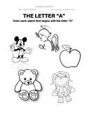 Pre-K phonics letter A worksheet