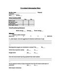 Pre-K preschool Transition information form Incoming Kindergarten Students
